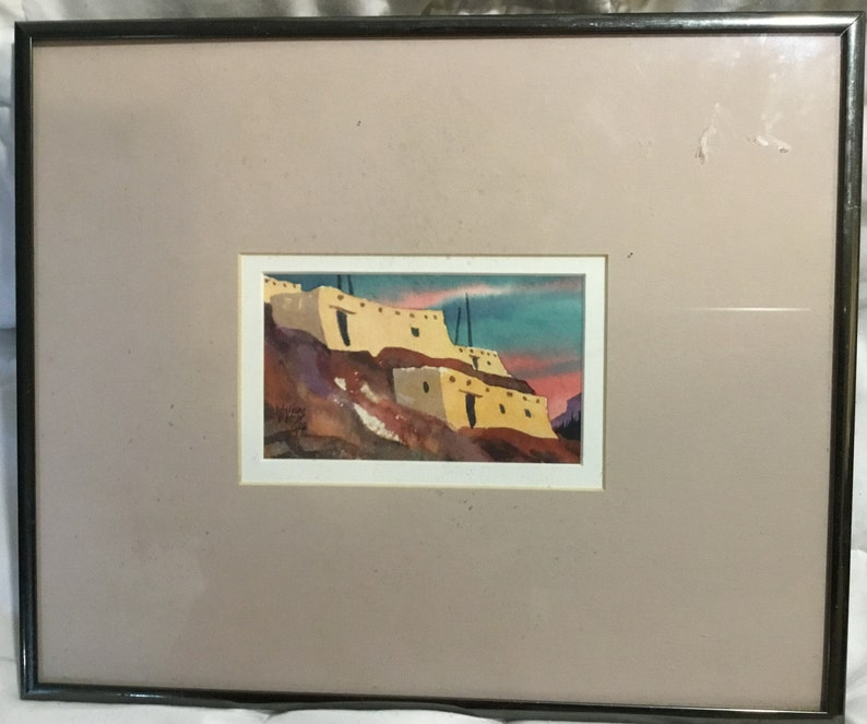 Ted Abbott Winters Pueblo Homes Watercolor Signed 1988