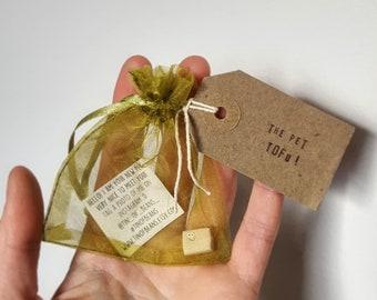 The Pet Tofu, vegan gift, pet, Christmas gift, stocking filler, dorm decor, birthday gift, small gift, silly gift, cute gift, fun gift, gift