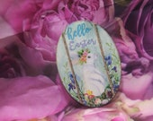 Hello Easter Bunny Decoupage Hanging Sign