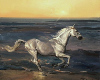 Horse painting oil original Oil painting on canvas Naturalism