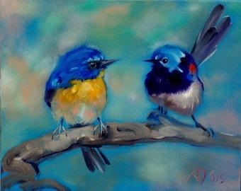 Little bird painting oil Original art Made to order