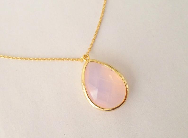 Pink Wedding Gift Bridal Necklace Pink Gold Opal Necklace Christmas Gift MoonStone Gold Necklace Pink Bridal Necklace