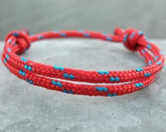 Surfer bracelet sail bracelet red blue, 3 mm, maritime nautical, sailing surfing climbing, dew string rope knot, sea ocean beach coast