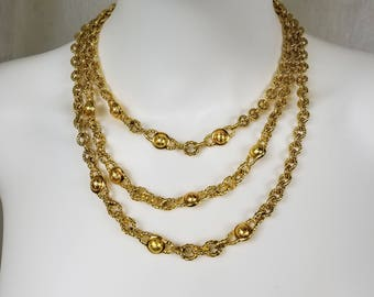 Vintage MONET Gold Layered Bib Multi-Strand Chain Necklace