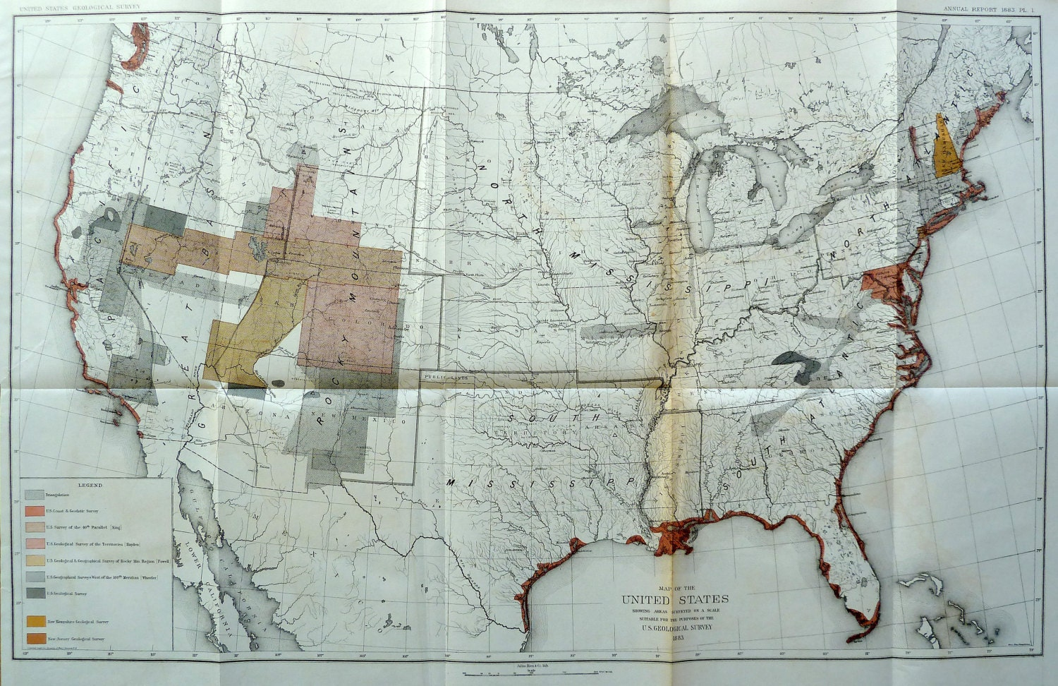 Geological Map of the United States 1883 | Etsy