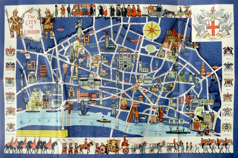 City Of London Map.The City Of London Pictorial Map C 1955