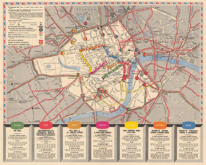 Map Over London.Coronation Map Of London 2nd June 1953