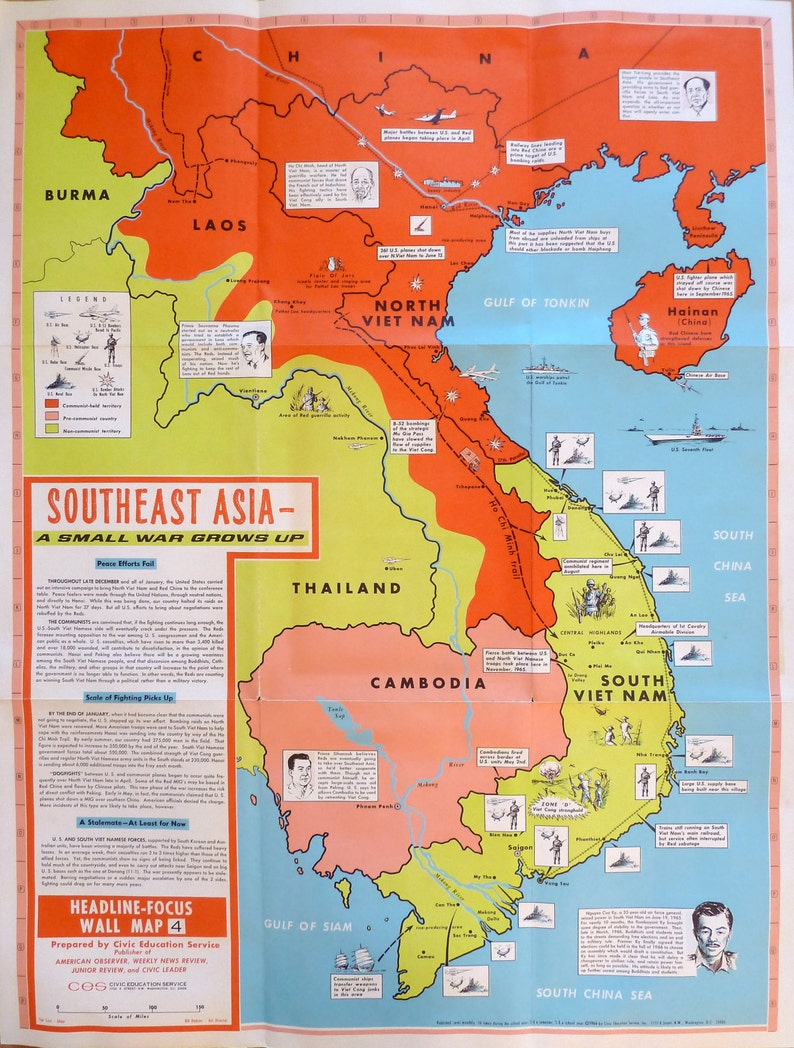Map Of Asia During Vietnam War.South East Asia A Small War Grows Up 1966 Etsy