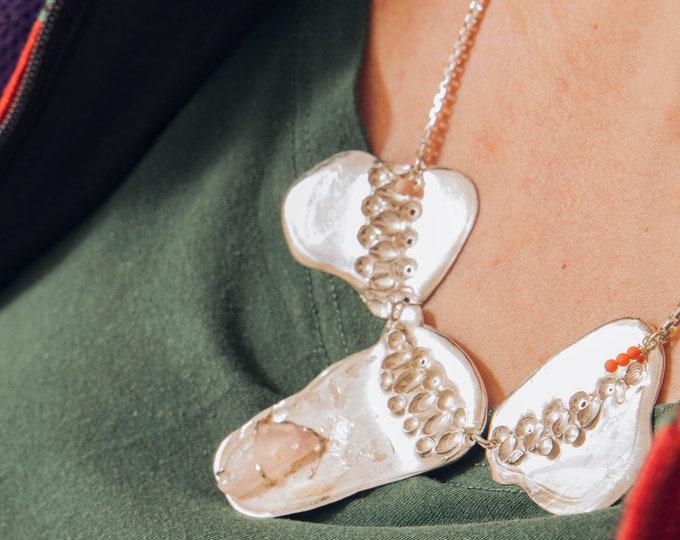 necklace BIG CHUNK with ROSEQUARTZ.