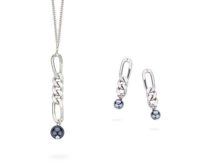 Silver HEMATITE earring or pendant.