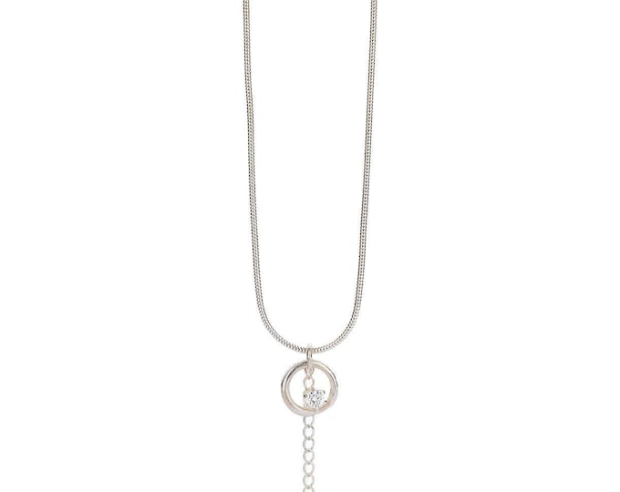 Silver GUINEVERE pendant + snake chain + Cubic zirkonia. Romantic and rustic necklace. Tiny pendant with a brilliant. Organic silver pendant