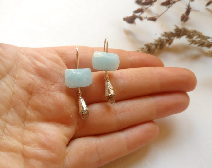 Earring THALIA with AQUAMARINE and HERKIMERQUARTZ.