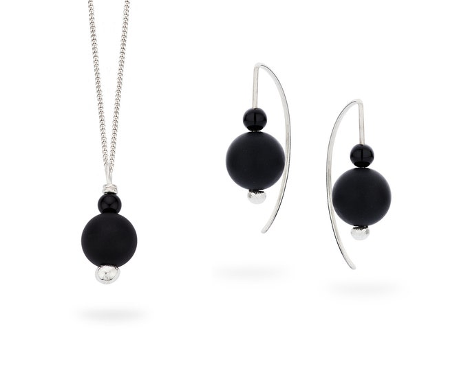 Silver BLACK earring or pendant.