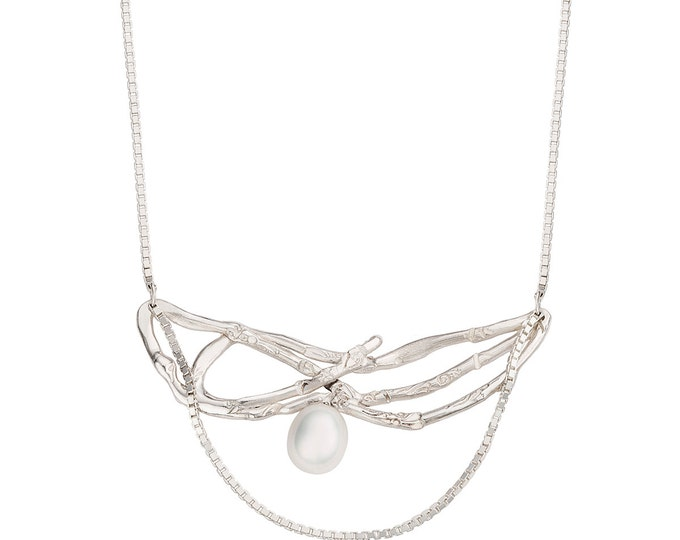 Sterling silver necklace. Bow necklace with natural pearl drop. Bohemian pendant with real pearl. Chain necklace white pearl + bow pendant