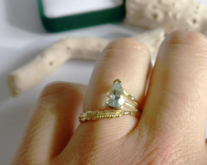 One of a kind ring: AQUAMARINE PEAR.