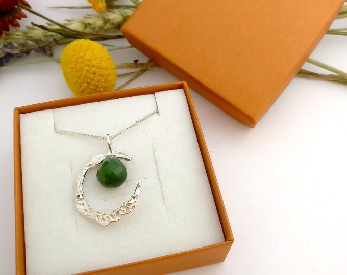 necklace MOON with JADE.