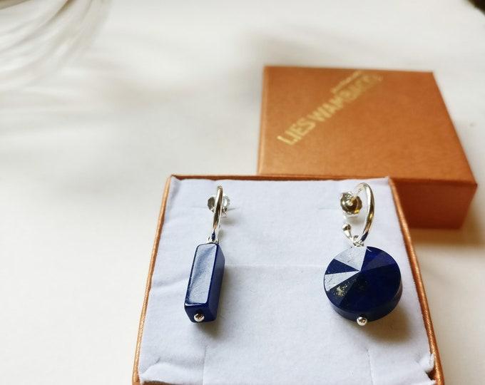 Silver LAPIS earrings.