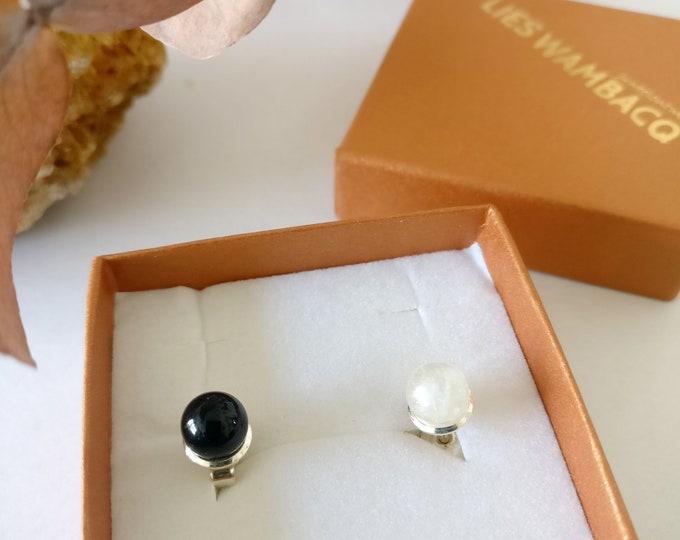 BLACK and WHITE earrings.