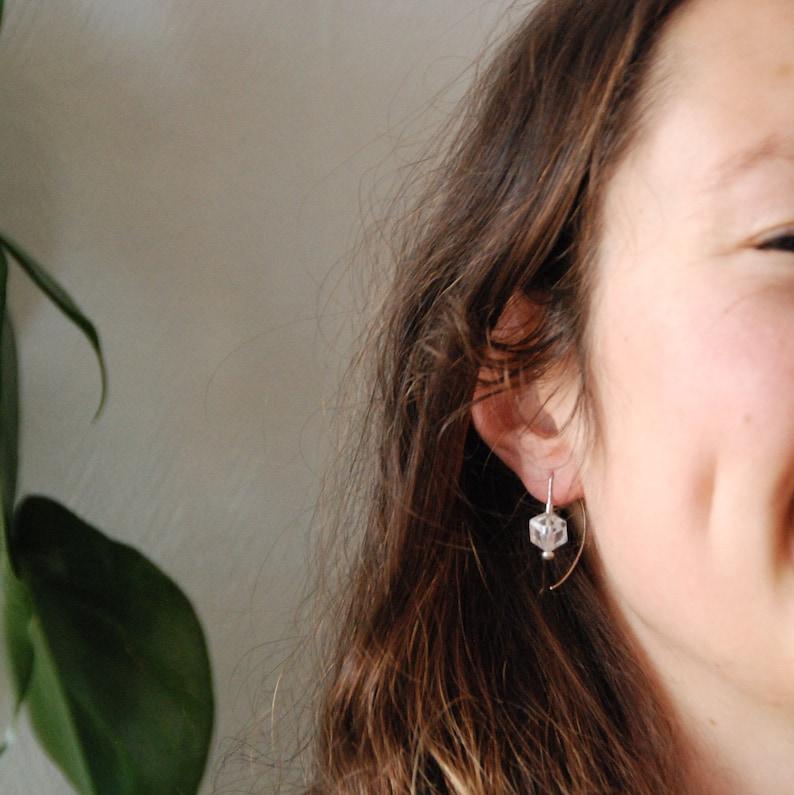 Crystal ear hoop Kubus Square Handmade earring ROCK CRYSTAL Birthstone earring Silver SQUARE earring or pendant Minimal earring