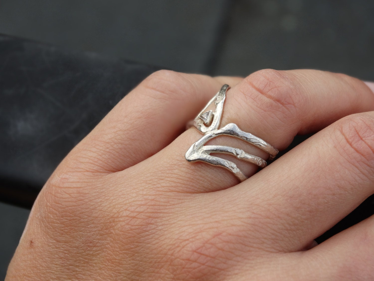 Silver THERESIA ring. Sterling silver wire ring with a little ...