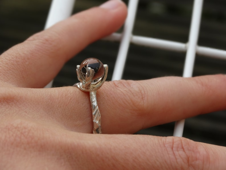 Prong ring Stacking ring silver Claw ring Alternative engagement ring. SALE 99-50/%= 49,5 Silver JULIE ring with smokey quartz Solitair