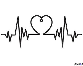 Heartbeat Svg Etsy