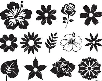 Flowers SVG Bundle, Flowers Clipart, Leaves svg, Rose SVG, Circut Cut Files Silhouette, Flowers Png, DXF Eps Vector Instant Download Shirt