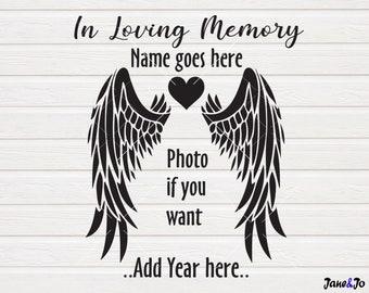 Memorial Day SVG,Memory Angel Wings Heart SVG,Memory svg Shirt Clipart,Iron transfer, In Loving Memory SVG files cut files circut Silhouette