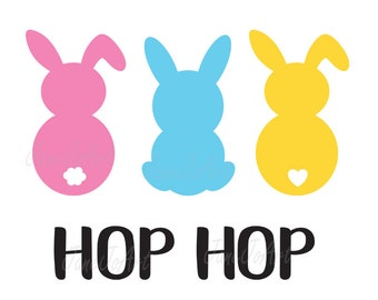 Bunny SVG Rabbit Svg Easter Siilhouette Cut Files Cricut Three Bunnies Clipart Vector Hop