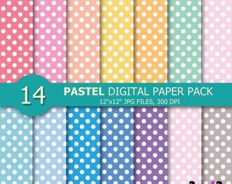 Pastel Polka Dot Digital PaperPastel Spots Dots Pattern Scrapbook PaperRainbow Background Image Print