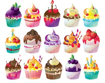 cupcake clipart etsy