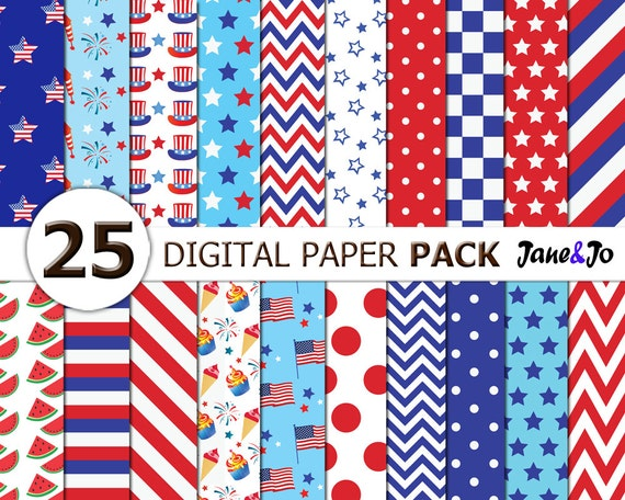4th Of July Digital Papersindependence Day Digital Papers Etsy