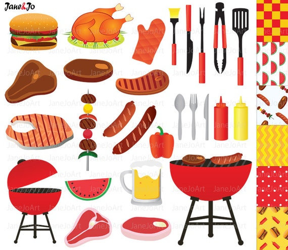 bbq clipart barbeque clipart summer clipart grill party rh etsy com barbecue clipart barbecue clipart images