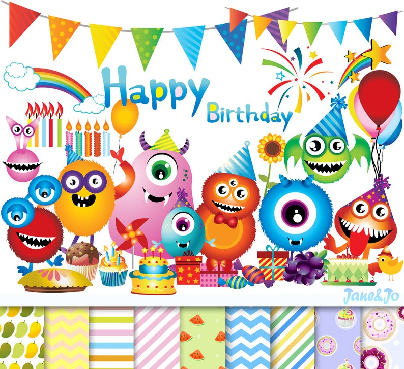 90 Happy Birthday Cliparts 9 Digital PapersMonster
