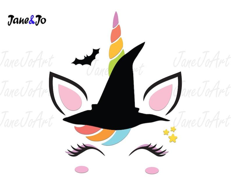 Halloween Unicorn Svg Halloween Svg Unicorn Witch Face Cricut Silhouette  svg Halloween Svg files Bat Svg Unicorn Svg cut file circut clipart