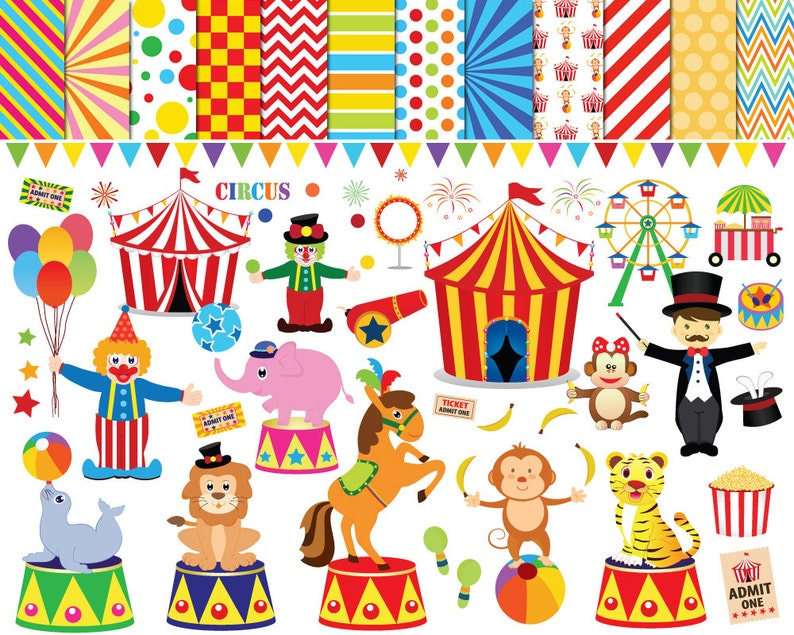 56 Circus Clipart Circus Clip Art Clowns Clipart Circus Etsy