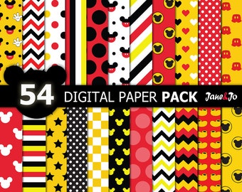 54 Mickey Digital Paper,Mickey Digital Papers,Mickey background,Mickey background,polka dots, chevron, stripes,mickey scrapbook,Micky Images