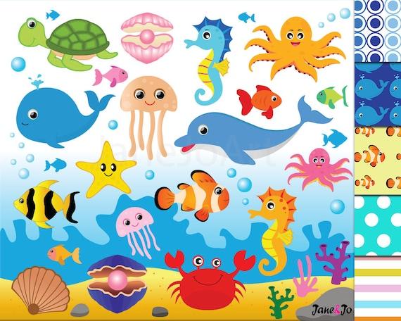 50 offsale sea animal clipart sea animals clipart sea creatures rh etsystudio com Ocean Animal Border Ocean Animals Coloring Pages