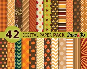 Fall Digital Paper , fall paper, Fall Patterns , Autumn Digital Paper, Autumn background , Harvest Digital Paper,Harvest Orange Yellow Brown