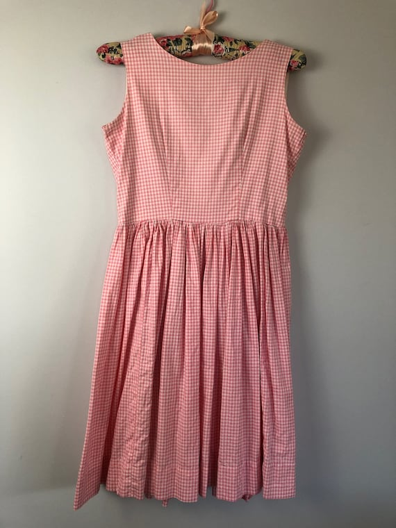 1950s/60s Vintage Girls Pink Gingham DRESS Sz 11/1