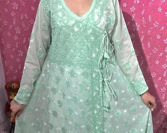 Indian Chikankari Lucknowi chikan work Kurti Kurta 100/% Georgette Chiffon hand work Tunic Top Wedding Bridal Bride Part Wear girls Diwali