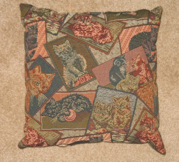 Calico Cat w// Sunflowers Tapestry Pillow New Fences Pail Water Hand Pump