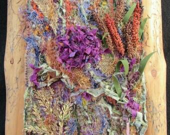 "Autumn Flowers Art Quilt, Fiber Art Wall Hanging, Unique Fabric Art, Three Dimensional, Home Decor, Gift Idea,  12"" x 14"""