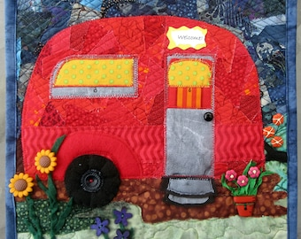 Made to Order, Quilted Wall Hanging, Vintage Camp Trailer, Art Quilt, Whimsical Quilt, Gift Idea