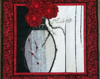 """Red Quilted Wall Hanging, Flower Urn Art Quilt, Original Design Quilt, Unique Home Decor, Gift for Anyone, 25"""" x 25"""""""