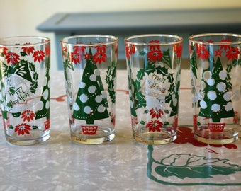 Set of Three Vintage Christmas Glasses