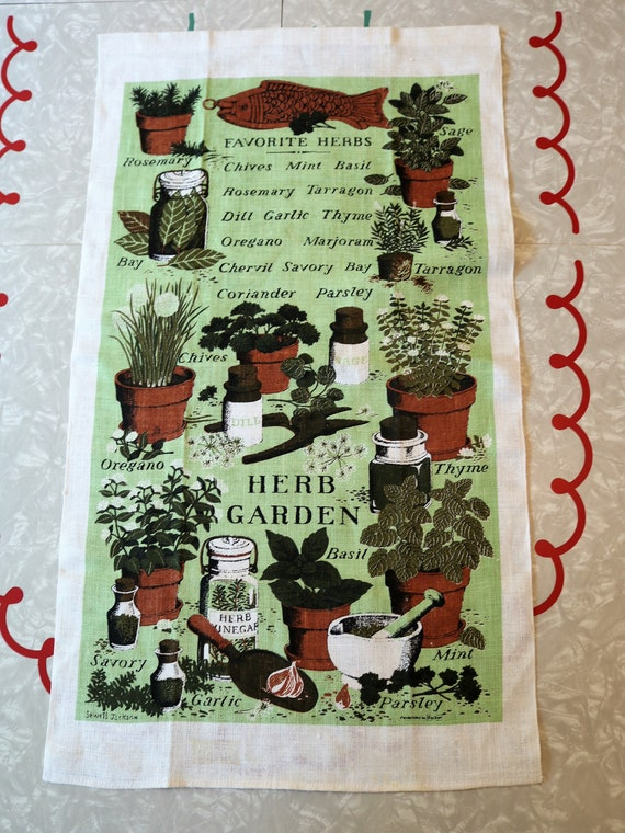 Vintage Herb Garden Tea Towel, Kay Dee Designs Kitchen Towel