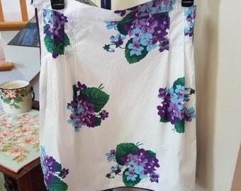 Pretty Purple Floral Half Apron, Vintage Cotton Print