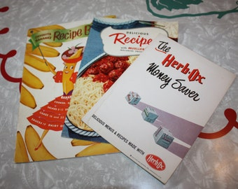 Cool Cookbook Booklets, Chiquita Banana, Herb-Ox, Muellers, Vintage 3-Piece Set