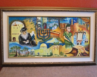 Original Oil Painting Montage Of Israel Jerusalem, Jewish,Christian, Framed, 1980s.